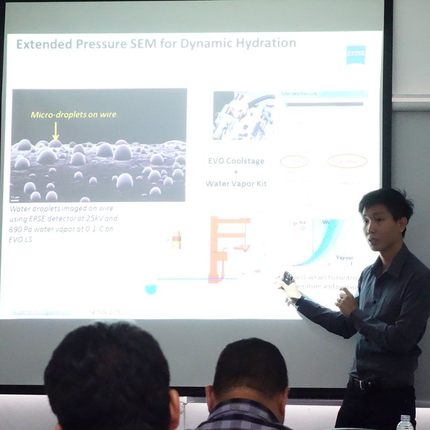 Dr. Eugene Choo, Regional Application Specialist, ZEISS Microscopy Southeast Asia, speaking about the ZEISS EVO.